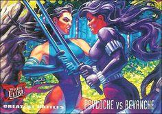 Fleer Ultra X-men - Series 2 Psylocke vs Revanche Misty Knight, Heroes For Hire, Moon Knight, Psylocke, Comics Girls, Punisher, X Men, Trading Cards, Marvel Comics