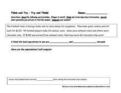 """Math problem solving, associated with story problems is a common area of struggle for all students, especially those with learning differences.  This """"Think and Try"""" story problem offers practice for students to read, think , and identify important information in order to determine the operations needed to arrive at the correct answer."""