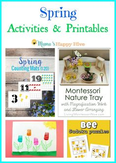 Enjoy a lovely collection of Spring Activities and Printables for children of all ages to enjoy! This collection includes spring counting mats printable, Montessori nature tray with flower arranging, painting tulips with a fork, and bee sudoku puzzle printables.