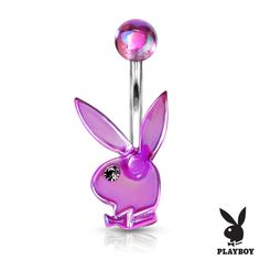 AB Effect Acrylic Playboy Bunny Belly Bar With Clear Gem Eye. A beautiful petite belly bar with the classic Playboy bunny in purple, blue, clear or pink. Belly Rings, Belly Button Rings, Belly Button Piercing Jewelry, Belly Piercings, Leaf Engagement Ring, Silver Nose Ring, Body Jewellery, Button Jewellery, Belly Bars