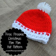 Preemie Christmas Pom Pom Hat ~ free pattern