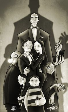 KidNotorious' Addams Family - Bill Ward  Height, line, shadow, grey-scale, creepy, but also fun. Like it!