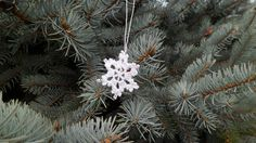 White Cotton Crochet Snowflakes Christmas Decoration by dianasjoy Crochet Snowflakes, Cotton Crochet, White Cotton, Dandelion, Christmas Decorations, Unique Jewelry, Handmade Gifts, Flowers, Plants