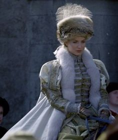 "This was my very favorite costume in ""The Tudors."" (Queen Jane Seymour played by Annabelle Wallis) Loved the neutral color and that gorgeous fur hat."