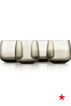 Give your drinkware a hint of dark elegance with these stemless smoke-colored wine glasses from Hotel Collection