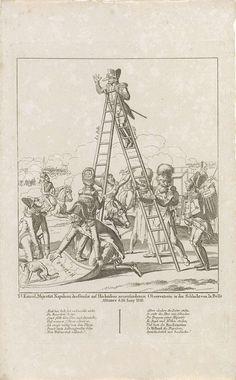 Anonymous   Napoleon op zijn mobiele uitkijkpost, 1815, Anonymous, Friedrich Campe, 1815   Spotprent op Napoleon staande op een ladder tijdens de slag bij Waterloo op 18 juni 1815. Napoleon staande bovenaan de ladder met bril op zijn extreem lange neus. De trap vastgehouden door drie sappeurs. Links voor poept een hond op de kaart van Holland die door twee Franse generaals op de grond wordt gelegd. Rechts een onnozele bode met Napoleons proclamatie van Laken onder de arm, hierachter staat…