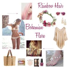 My Rainbow Hair with Bohemian Flare by destinyj77 on Polyvore featuring beauty, Estée Lauder, Paul & Joe, OPI, Topshop, Stella & Dot and Flora Bella