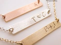 Hey, I found this really awesome Etsy listing at https://www.etsy.com/listing/210025950/rose-gold-initial-bar-necklace-silver