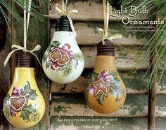 Recyclez vos ampoules pour des bricolages de Noël! 20 MODÈLES!                                                                                                                                                                                 Plus