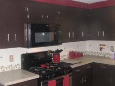 """We needed a quick and easy solution for our boring tile backsplash without breaking the bank. Self Adhesive Wall Tiles, Decorative Wall Tiles, Smart Tiles, Other Rooms, Backsplash, Really Cool Stuff, Kitchen Cabinets, Nice, Simple"