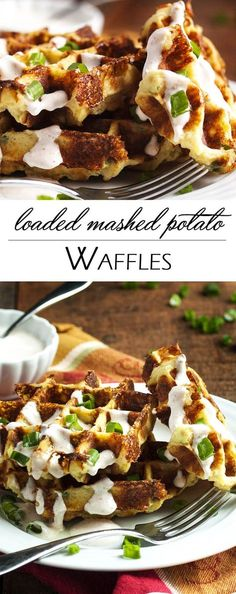 Loaded Mashed Potato Waffles - Mashed Potato Waffles Are Filled With Scallions And Cheese And Are An Awesomely Tasty Way To Enjoy Leftover Mashed Potatoes. When You Try Them You May Find Yourself Making Mashed Potatoes Specifically To Enjoy These Waffles Potato Waffles, Savory Waffles, Pancakes And Waffles, Bacon Potato, Loaded Mashed Potatoes, Leftover Mashed Potatoes, Cheesy Potatoes, Baked Potatoes, Loaded Potato