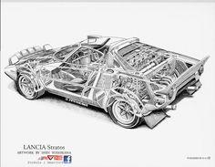 Lancia Stratos cutaway_by Shin Yoshikawa. Cutaway, Sport Cars, Race Cars, E Type, Car Drawings, Car Sketch, Automotive Art, Technical Drawing, Rally Car