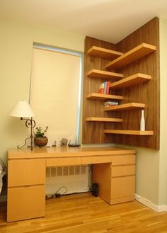 floating shelves love idea... Not so keen on wood color... That is what paint is for