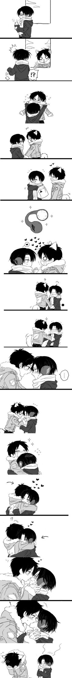 Rivaille (Levi) x Eren Jaeger - SNK Attack on Titan THATS SO FREAKING CUTE