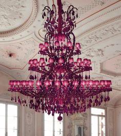 hot pink chandelier