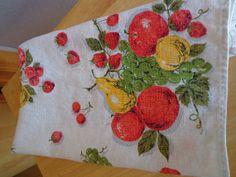 Apple and Pear Theme Vintage Tea Towel on Etsy, £4.94