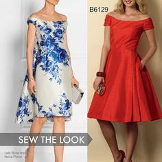 Wedding guest dress inspiration: Make your own version of this Lela Rose dress with Butterick B6129. Look for floral satins or silk-wool blends. #butterick #weddingguestdress #weddingseason #sewing #sewadress #sewinginspiration #wesewfashion #isewfashion #makeadress #DIYfashion