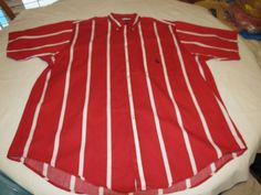 Mens Nautica red white striped L short sleeve button up shirt casual EUC@ #Nautica #ButtonFront