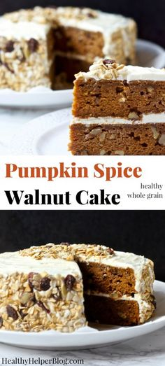 Pumpkin Spice Walnut Cake   Healthy Helper @Healthy_Helper Delicious pumpkin cake studded with rich walnuts and topped with decadent cream cheese frosting! A lighter, healthier option for homemade dessert during the holidays. This easy to make, from scratch cake is a family favorite and guaranteed crowd-pleaser. Made with whole grains and REAL food ingredients! #BobsHolidayCheer @bobsredmill