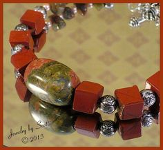 Unakite Mahogany Jasper Antiqued Silver by JewelryByScotti on Etsy, $20.00