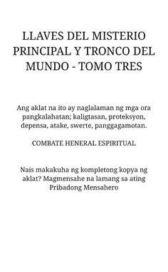 Combate Espirituwal sa Mahiwagang Mundo: Mahiwagang Aklat : LLAVES DEL MISTERIO PRINCIPAL Y...