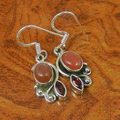 RED ONYX & GARNET  925 STERLING SILVER FANCY EARRING 4.83g SJER0129 #Handmade #Earring