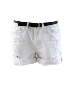 Oversize Distressed White Denim Shorts with Roll Up Hem