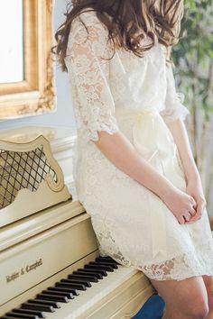 Camellia Lace Robe  Getting Ready Robe  Bridal by MarisolAparicio