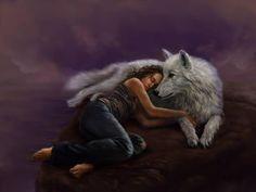 Woman, Girl, Wolf, Dog, Beautiful, Sleeping, Protecting