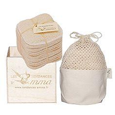 Les Tendances D Emma Kit Eco Belle bois: 15 carrés démaquillants lavables Coton Bio Biface + filet + boite en bois: Amazon.fr: Beauté et Parfum