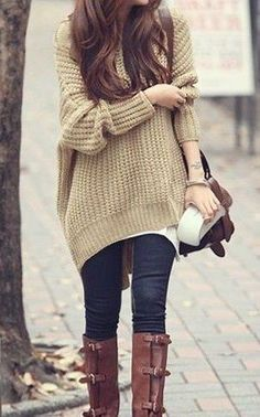 #fall #fashion / beige oversized knit + boots