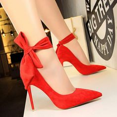 Fashion Women Big Bow Tie Pumps Butterfly Pointed Stiletto Shoes Woman High  Heels Wedding Shoes Bowknot b7980d6594d5