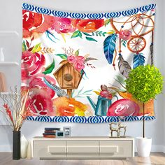 Flower Wall Tapestry Wall Hanging Polyester Sandy Beach Towels Yoga Mat Picnic Blanket Throw Rug Wall Carpet America #Affiliate