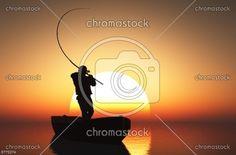 Łowienie ryb o zachodzie słońca     nr8775274