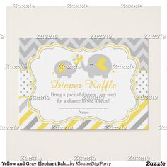 Yellow and Gray Elephant Baby Shower Diaper Raffle Business Card
