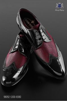 """Zapatos rojo bicolor cuero negro estilo """"Golf""""                                                                                                                                                                                 Más"""