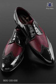 """Zapatos rojo bicolor cuero negro estilo """"Golf"""""""