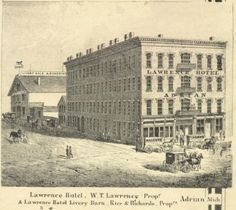 Lawrence Hotel In Adrian Ilrated On 1864 County Map Http Maps