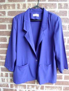 16.19$  Watch now - http://vidaa.justgood.pw/vig/item.php?t=w6tsgc52980 - Alfred Dunner Vintage 80's Deep Purple Blazer Jacket Size 16