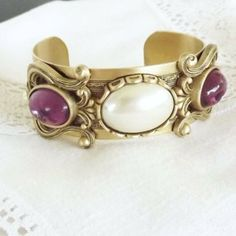 Vintage Bracelet Cuff Style with Purple Rhinestones by TOSDesigns, $22.00