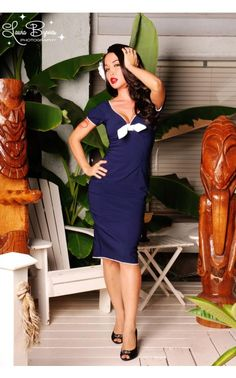 Natalie Dress in Nautical Blue with White Trim by Pinup Couture - Pinup Couture - House Brands | Pinup Girl Clothing