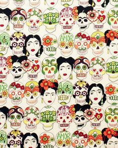 Gotas de Amor - calaveras, Frida - beatiful fabric by Alexander Henry