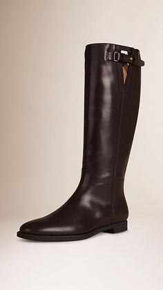 Deep burgundy House Check and Leather Riding Boots - Image 1