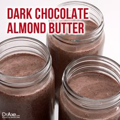 Dark Chocolate Almond Butter: Ingredients-     2 cups raw almonds     1/3 cup dark chocolate (at least 70% cocoa)     1 tsp coconut oil     1/8th tsp sea salt Blend all ingredients until smooth http://draxe.com/recipe/dark-chocolate-almond-butter/ #draxe #healthy #chocolate