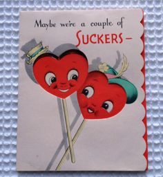Vintage Valentine's Day Greeting Card - Anthropomorphic Lollipops - Old