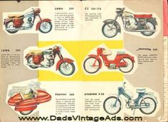Original Brochure printed in Czechoslovakia for Motokov, CZ, Jawa and Manet model motorcycles and scooters. Written in English color illustrations and basic technical data. Shown are: Jawa 250, Jawa 350, Velorex 560 Sidecar, CZ 125-175, Jawetta Moped, Stadion S-22 Moped, Jawa 50/555 Scooter, Manet