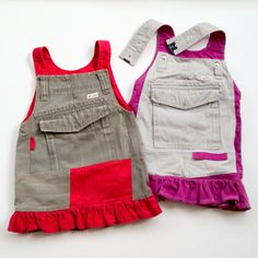 Step by step photo instructions how you could recycle daddy's pants to toddler skirt.