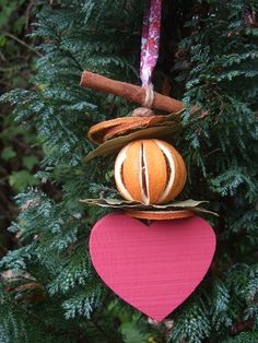 Dried Fruit with Wooden Heart Decoration - The Supermums Craft Fair