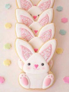 Galletas - Cookies - Sprinkle-y Pink Easter Bunny Cookies Cookies Cupcake, Galletas Cookies, Fancy Cookies, Iced Cookies, Cute Cookies, Easter Cookies, Royal Icing Cookies, Easter Treats, Holiday Cookies