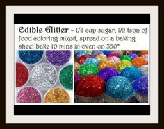 This easy DIY edible sugar glitter is the perfect way to add some serious sparkle to your desserts. Made from two ingredients. Comments say bake at 180 instead though. Sucre Candi, Sugar Glitter, Sugar Sprinkles, Glitter Gel, Glitter Eyeshadow, Glitter Bomb, Glitter Photo, Glitter Slides, Glitter Dress